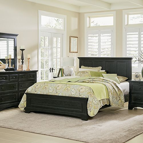 Inspired By Basset Farmhouse Basics King Bedroom Set with Nightstands and Dresser with Mirror