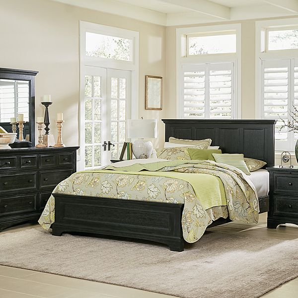 Osp Home Furnishings Farmhouse Basics King Bedroom Set With Nightstands And Dresser With Mirror