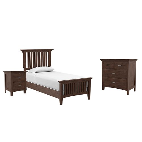 Inspired By Basset Modern Mission Twin Bedroom Set with Nightstand and Chest