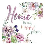 "New View Gifts ""Home is My Happy Place"" Canvas Wall Art"