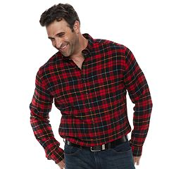 Big & Tall Croft & Barrow® Regular-Fit Flannel Woven Button-Down Shirt