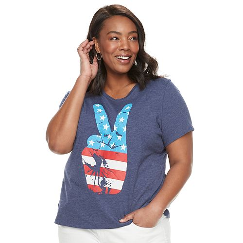 Plus Size Family Fun American Flag Peace Sign Graphic Tee