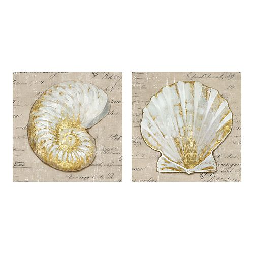 New View Gifts Shell Canvas Wall Art 2-piece Set