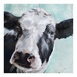 New View Gifts Cow Portrait Canvas Wall Art