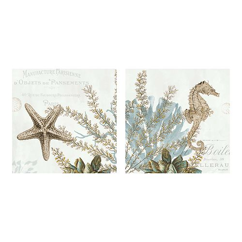 New View Gifts Seahorse & Starfish Canvas Wall Art 2-piece Set