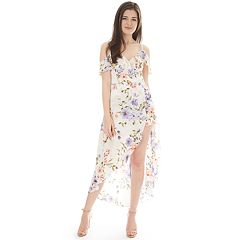4139145f2e1 NEW! Juniors  IZ Byer Cold Shoulder Asymmetrical Maxi Romper. Ivory Floral  Black Floral Navy Floral. sale
