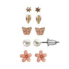 LC Lauren Conrad Flower, Leaf & Butterfly Stud Earring Set