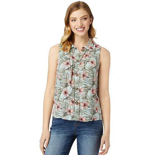 Juniors' Wallflower Sleeveless Button-Front Camp Shirt