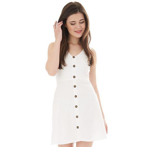 NEW! Juniors  IZ Byer Fit   Flare Sleeveless Button Down Dress 2b5172764