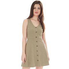 NEW! Juniors' IZ Byer Fit & Flare Sleeveless Button Down Dress