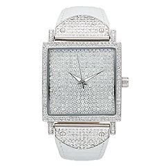 Peugeot Women's Couture Crystal Pave Leather Watch