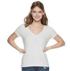 Juniors' Candie's® Short Sleeve Twist Front Tee