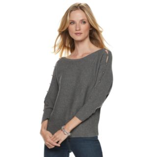 Women's Jennifer Lopez Ribbed Button Accent Sweater