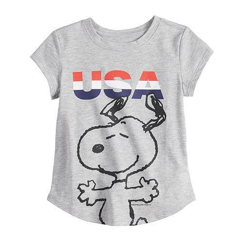 "Toddler Girl Family Fun Peanuts Snoopy ""USA"" Graphic Tee"