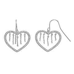 eeef9c216 City Chic Cubic Zirconia Heart Chain Drop Earrings. Silver Tone Rose Tone