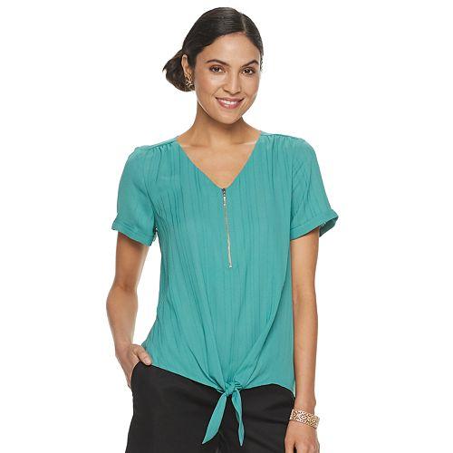 Women's Apt. 9® V-Neck Zipper Accent Tee