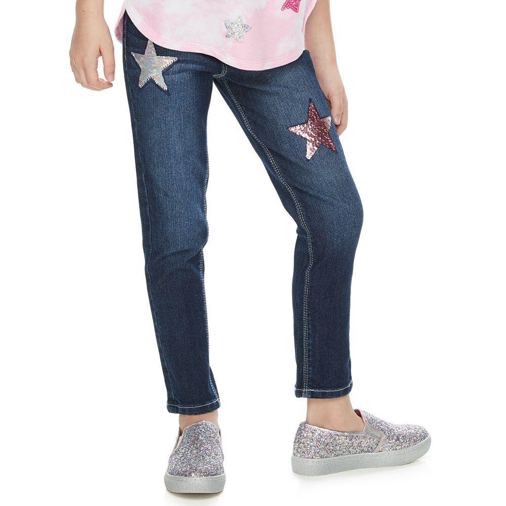 Girls 4-12 SONOMA Goods for Life® Star Flip-Sequin Skinny Jeans