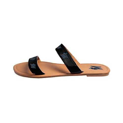 Women's Miami Marlins Slide On Double-Strap Sandals