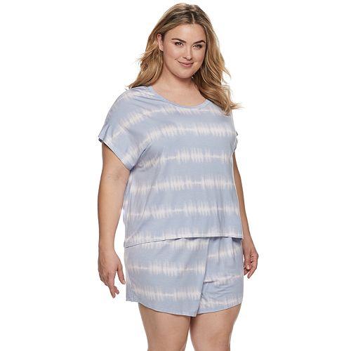 Plus Size SONOMA Goods for Life™ Tie-Dye Sleep Tee & Pajama Shorts Set