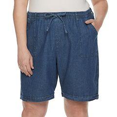 Plus Size Gloria Vanderbilt Riley Sheeting Pull on Shorts