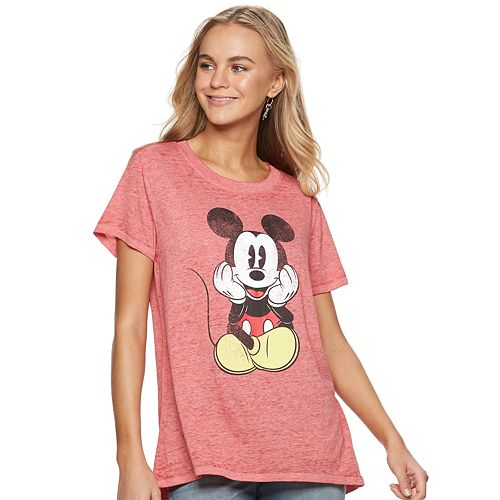 ce12673c3 Juniors' Disney's Mickey Mouse Burnout Graphic Tee