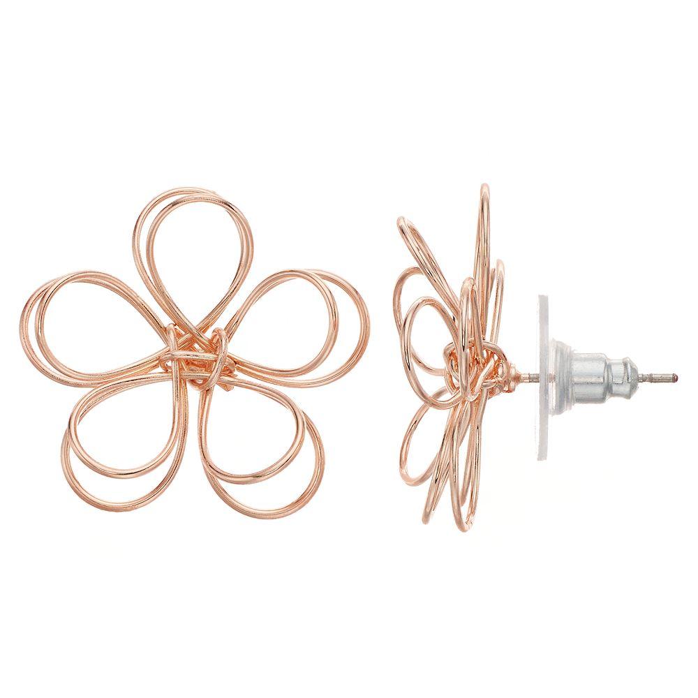 LC Lauren Conrad Nickel Free Openwork Floral Stud Earrings