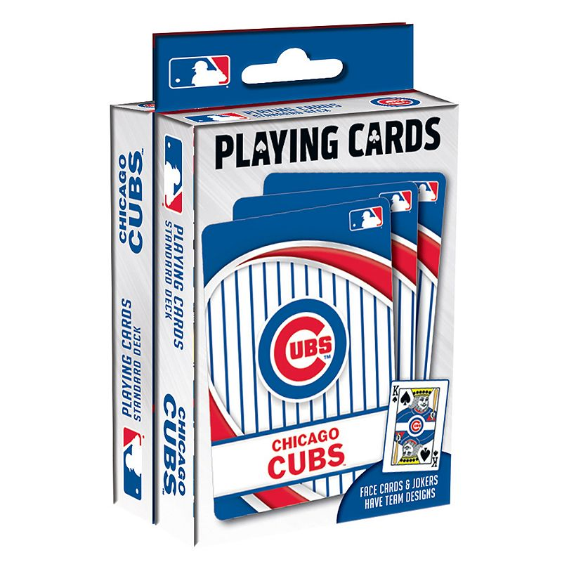 Chicago Cubs Playing Cards Play your favorite cards game with these MLB playing cards. MLB 2-pack Team logo & colored graphics Officially licensed FABRIC & CARE Plastic Imported Gift Givers: This item ships in its original packaging. If intended as a gift, the packaging may reveal the contents. Size: One Size. Color: Multicolor. Gender: unisex. Age Group: kids.