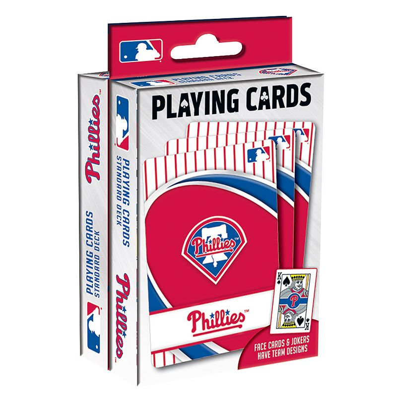 Philadelphia Phillies Playing Cards Play your favorite cards game with these MLB playing cards. MLB 2-pack Team logo & colored graphics Officially licensed FABRIC & CARE Plastic Imported Gift Givers: This item ships in its original packaging. If intended as a gift, the packaging may reveal the contents. Size: One Size. Color: Multicolor. Gender: unisex. Age Group: kids.