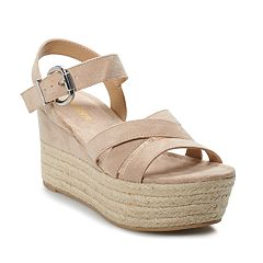 018f19f8cc madden NYC Charlette Women's Wedge Sandals. Light Taupe Black Fabric