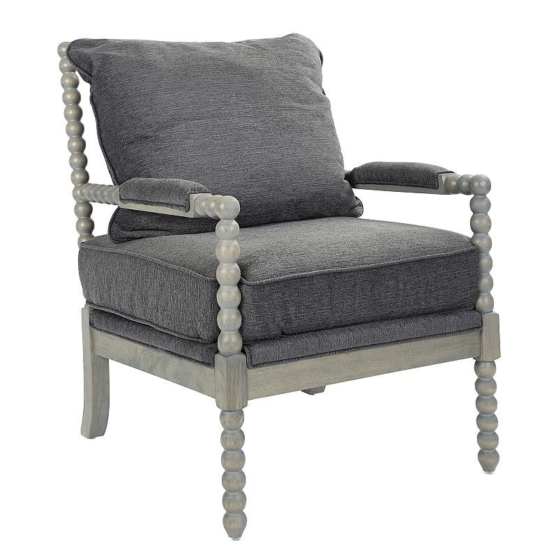 OSP Home Furnishings Abbot Accent Chair, Grey