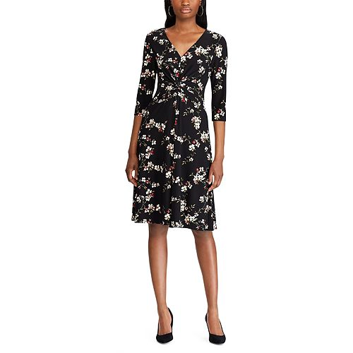 Women's Chaps Elbow Sleeve Fit and Flare Dress