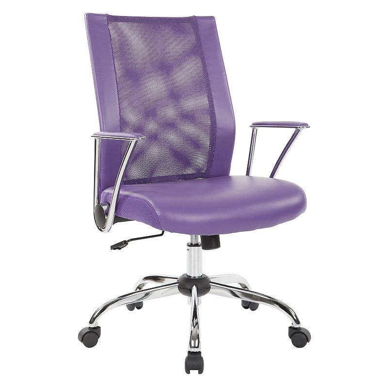 OSP Home Furnishings Bridgeway Office Chair, Purple