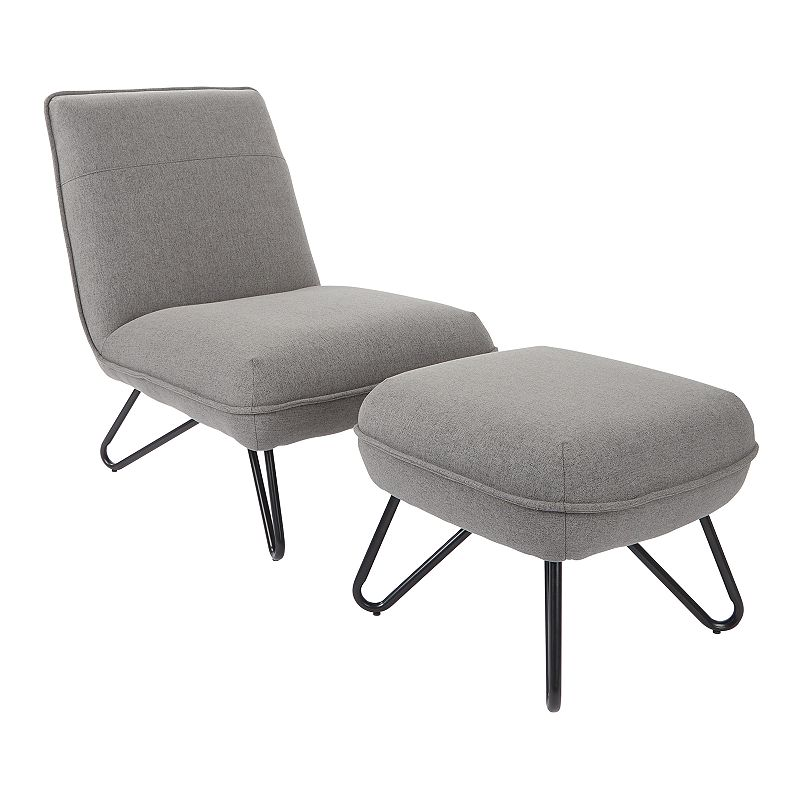 OSP Home Furnishings Cortina Accent Chair & Ottoman 2-piece Set, Grey