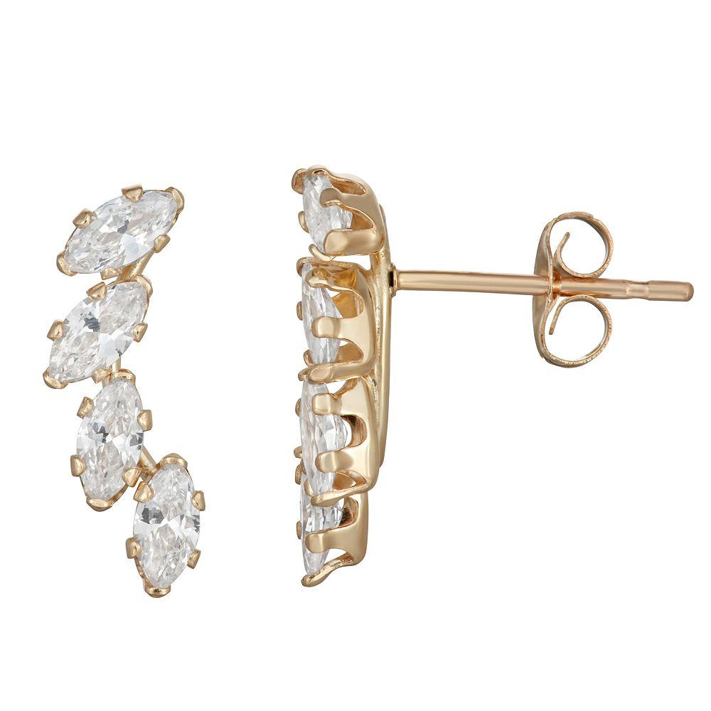 Taylor Grace 10k Gold Marquis Cubic Zirconia Crawler Stud Earrings