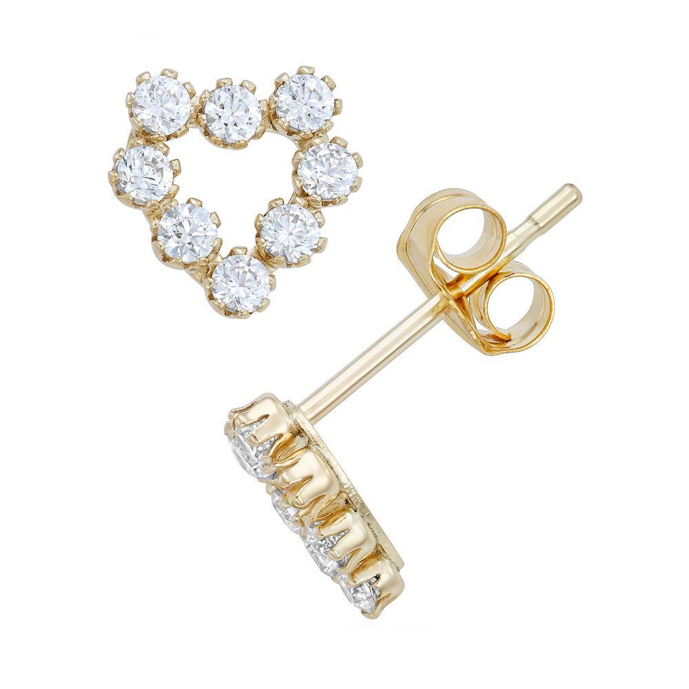 Taylor Grace 10k Gold Cubic Zirconia Heart Stud Earrings