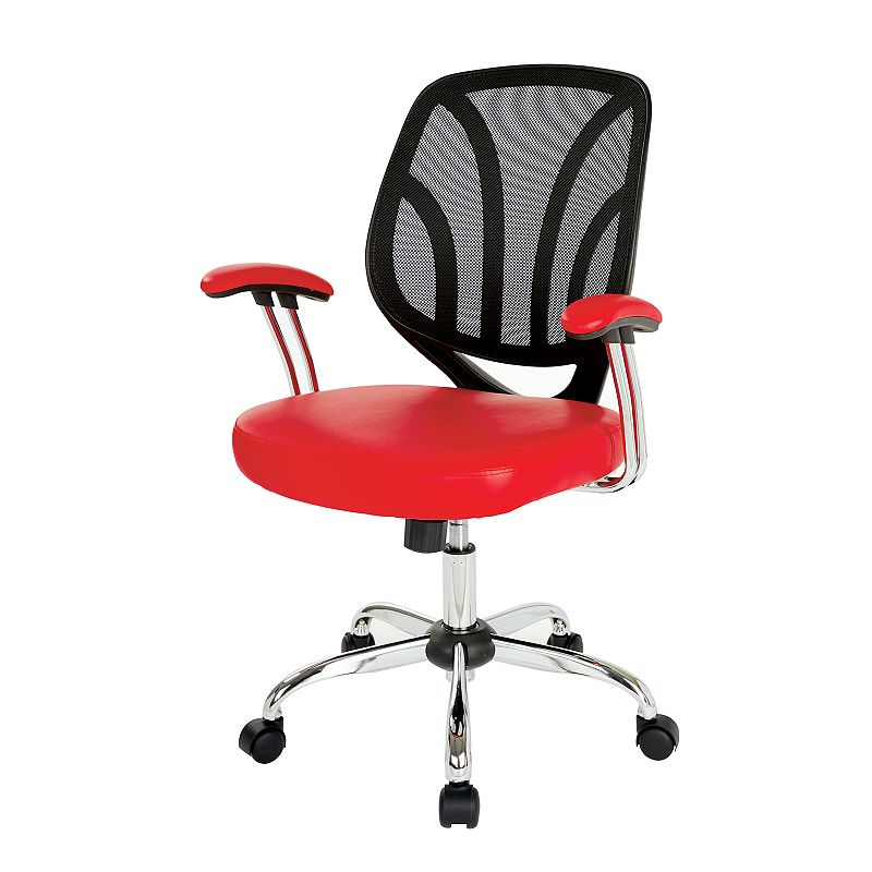 OSP Home Furnishings Screen Desk Chair, Red