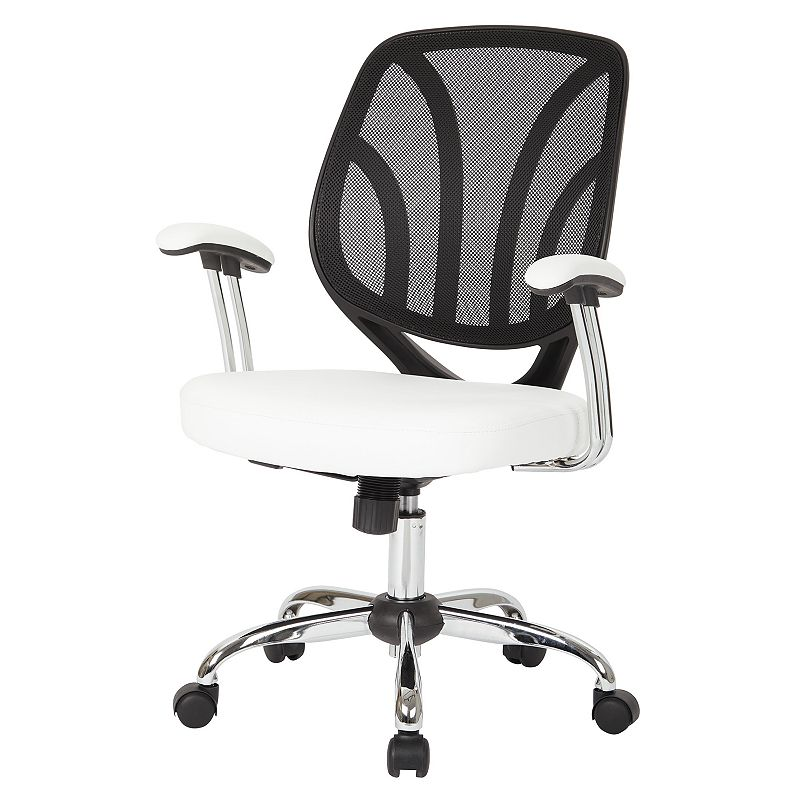OSP Home Furnishings Screen Desk Chair, White Keep comfortable while working in your office with this OSP Home Furnishings Screen Desk Chair. Silver finish on base Adjustable design 36.88 H x 25.25 W x 22 D Weight: 27 lbs. Seat height: 18 - 21.75-in. Weight limit: 250 lbs. Frame: nylon, steel Upholstery: polyurethane Fill: foam Manufacturer's 1-year limited warranty Assembly required Wipe clean Imported Model no. EM69203 Gift Givers: This item ships in its original packaging. If intended as a gift, the packaging may reveal the contents. Size: One Size. Color: White.