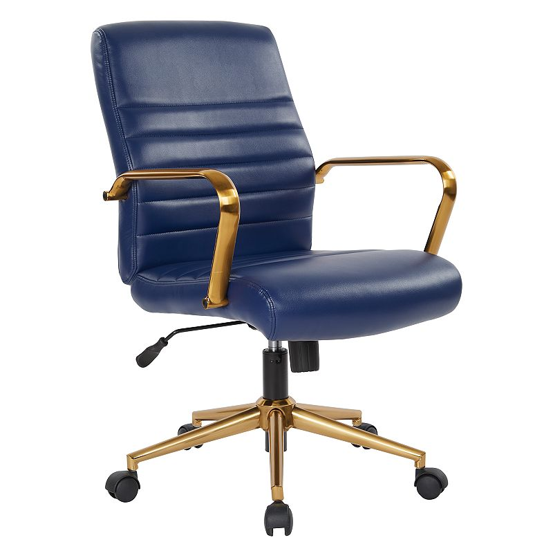 OSP Home Furnishings Faux Leather Office Chair, Blue