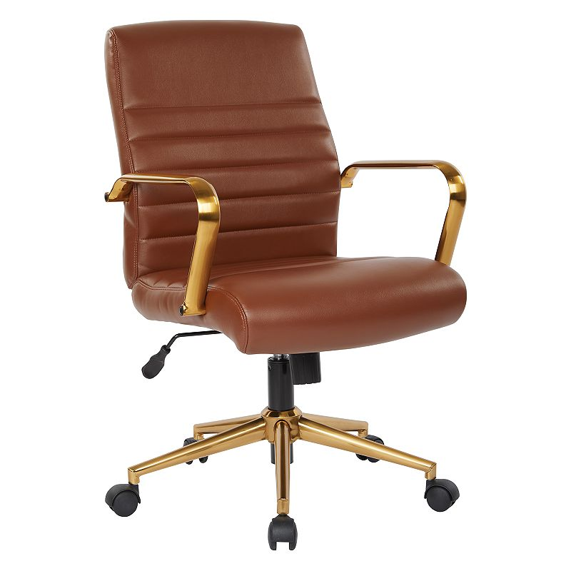 OSP Home Furnishings Faux Leather Office Chair, Brown
