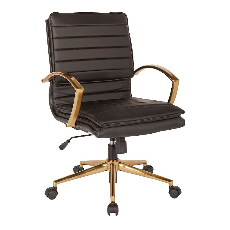 OSP Home Furnishings Faux Leather Desk Chair, Black