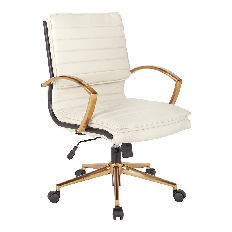 OSP Home Furnishings Faux Leather Desk Chair, White
