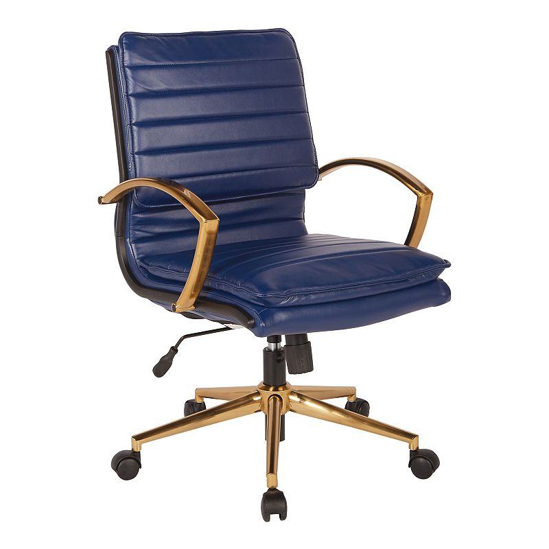 OSP Home Furnishings Faux Leather Desk Chair, Blue With a gold finish, this OSP Home Furnishings Faux Leather Desk Chair brings stunning style to your office. Pneumatic height adjustment Built-in lumbar support 36.63 H x 23.25 W x 24.5 D Weight: 29 lbs. Seat height: 18.5 - 22-in. Weight limit: 250 lbs. Frame: plastic, steelUpholstery: polyurethaneFill: foam Assembly required Manufacturer's 1-year limited warrantyFor warranty information please click here Wipe clean Imported Model no. FL23591G Size: One Size. Color: Blue.