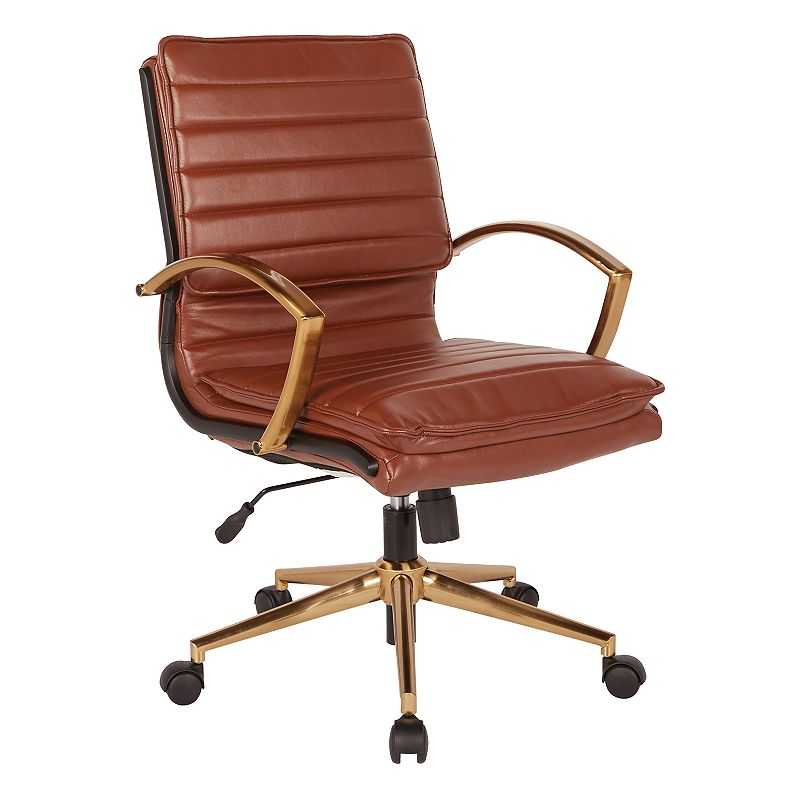 OSP Home Furnishings Faux Leather Desk Chair, Brown With a gold finish, this OSP Home Furnishings Faux Leather Desk Chair brings stunning style to your office. Pneumatic height adjustment Built-in lumbar support 36.63 H x 23.25 W x 24.5 D Weight: 29 lbs. Seat height: 18.5 - 22-in. Weight limit: 250 lbs. Frame: plastic, steelUpholstery: polyurethaneFill: foam Assembly required Manufacturer's 1-year limited warrantyFor warranty information please click here Wipe clean Imported Model no. FL23591G Size: One Size. Color: Brown.