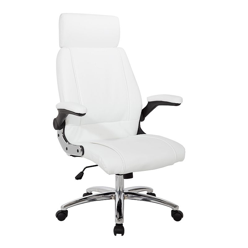 OSP Home Furnishings Executive Faux Leather Desk Chair, White Bring sophistication and comfort to your office with this OSP Home Furnishings Executive Faux Leather Desk Chair. Built-in lumbar support Faux leather upholstery 48 H x 28.5 W x 24.75 D Weight: 34 lbs. Seat height: 17.25 - 20.25-in. Weight limit: 250 lbs. Frame: nylon, chromeUpholstery: polyurethane, vinylFill: foam Assembly required Manufacturer's 1-year limited warrantyFor warranty information please click here Wipe clean Imported Model no. FL27513C Size: One Size. Color: White.