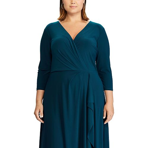 Plus Size Chaps Midi Faux-Wrap Dress