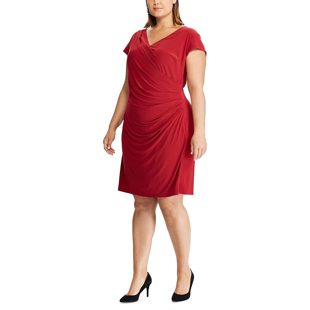 Plus Size Chaps Cap Sleeve Side Drape Dress
