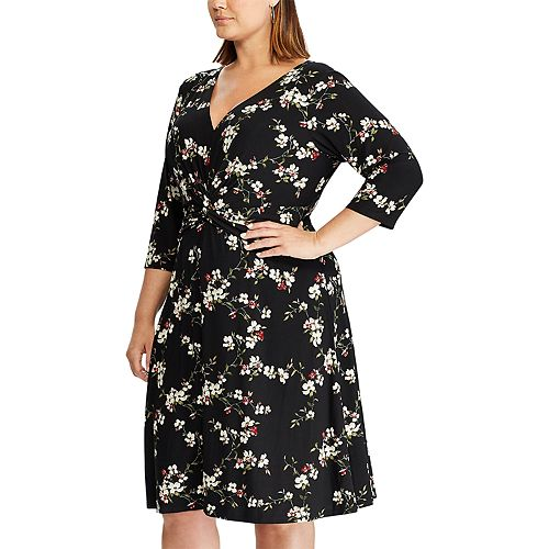 Plus Size Chaps Elbow Sleeve Fit and Flare Dress