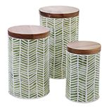 Certified International Mixed Greens Pattern 3-pc. Canister Set