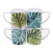 Certified International Mixed Greens Palm Leaves 4-pc. Mug Set