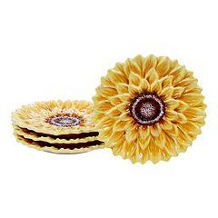 Certified International Sunset Sunflower 4-pc. 3D Dessert Plate Set